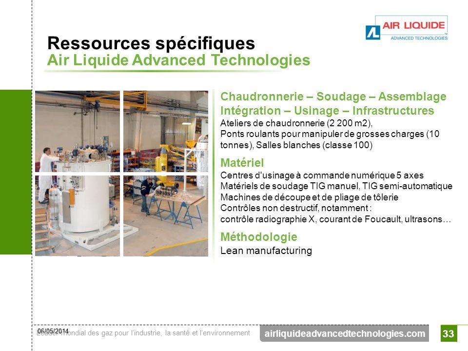06/05/2014 Leader mondial des gaz pour lindustrie, la santé et lenvironnement 33 airliquideadvancedtechnologies.com 33 Chaudronnerie – Soudage – Assem