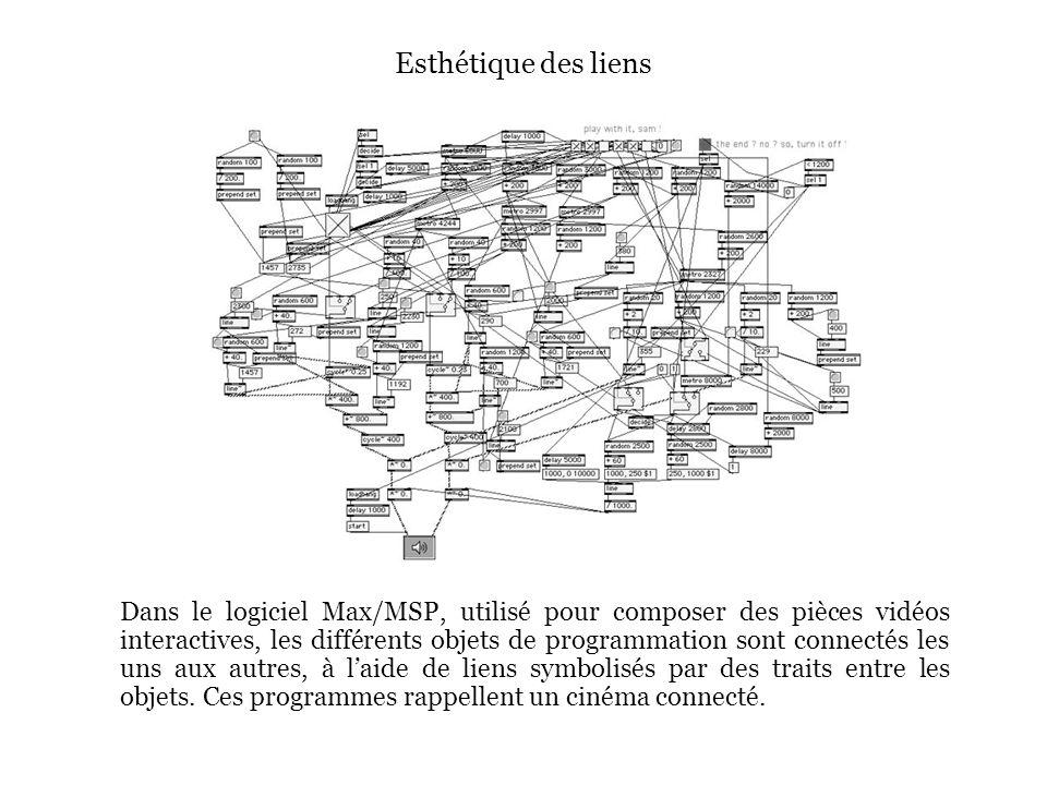 Esthétique des liens Dans le logiciel Max/MSP, utilisé pour composer des pièces vidéos interactives, les différents objets de programmation sont connectés les uns aux autres, à laide de liens symbolisés par des traits entre les objets.