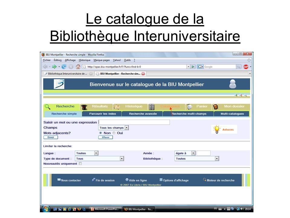 Le catalogue de la Bibliothèque Interuniversitaire