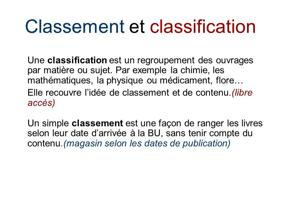 Classement et classification Une classification est un regroupement des ouvrages par matière ou sujet.