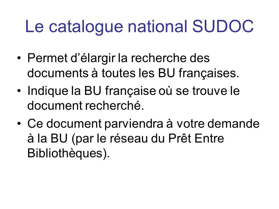 Le catalogue national SUDOC Permet délargir la recherche des documents à toutes les BU françaises.