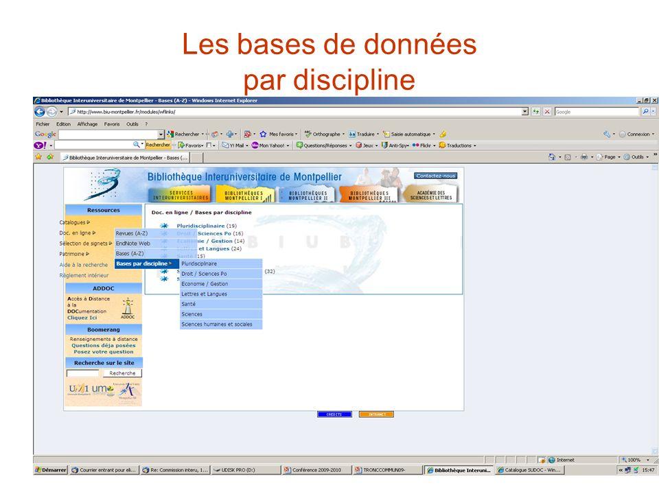 Les bases de données par discipline