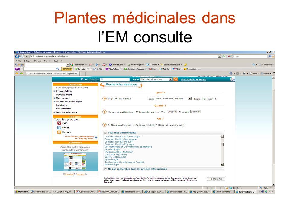 Plantes médicinales dans lEM consulte