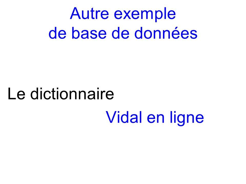 Autre exemple de base de données Le dictionnaire Vidal en ligne
