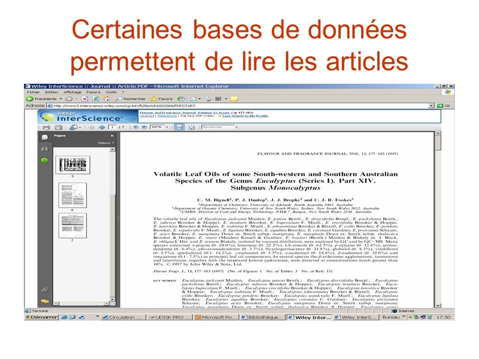 Certaines bases de données permettent de lire les articles
