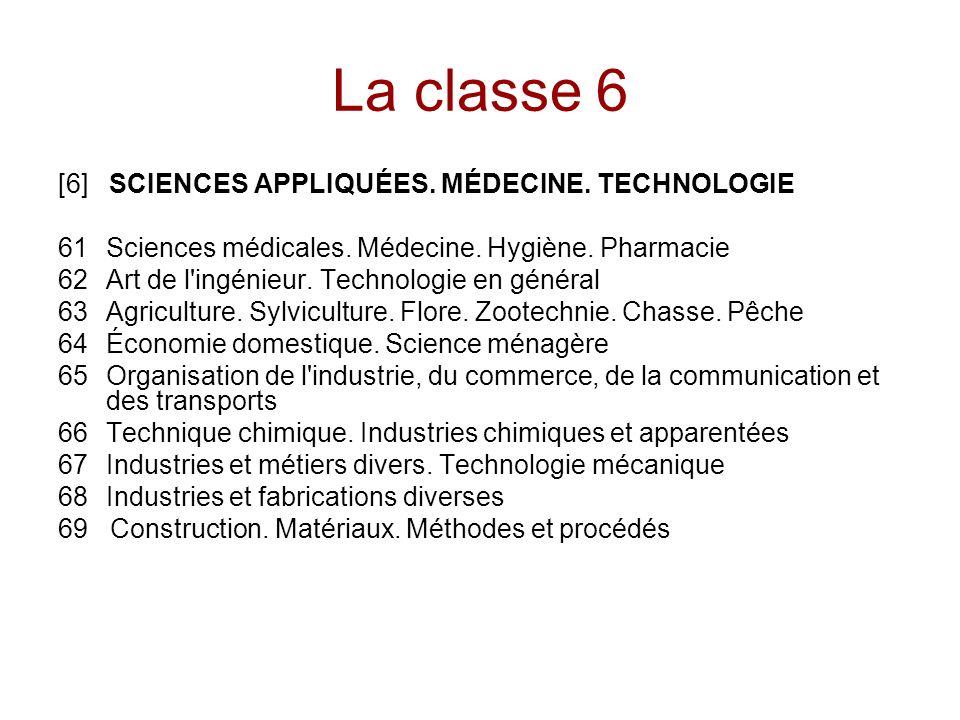 La classe 6 [6] SCIENCES APPLIQUÉES.MÉDECINE. TECHNOLOGIE 61Sciences médicales.