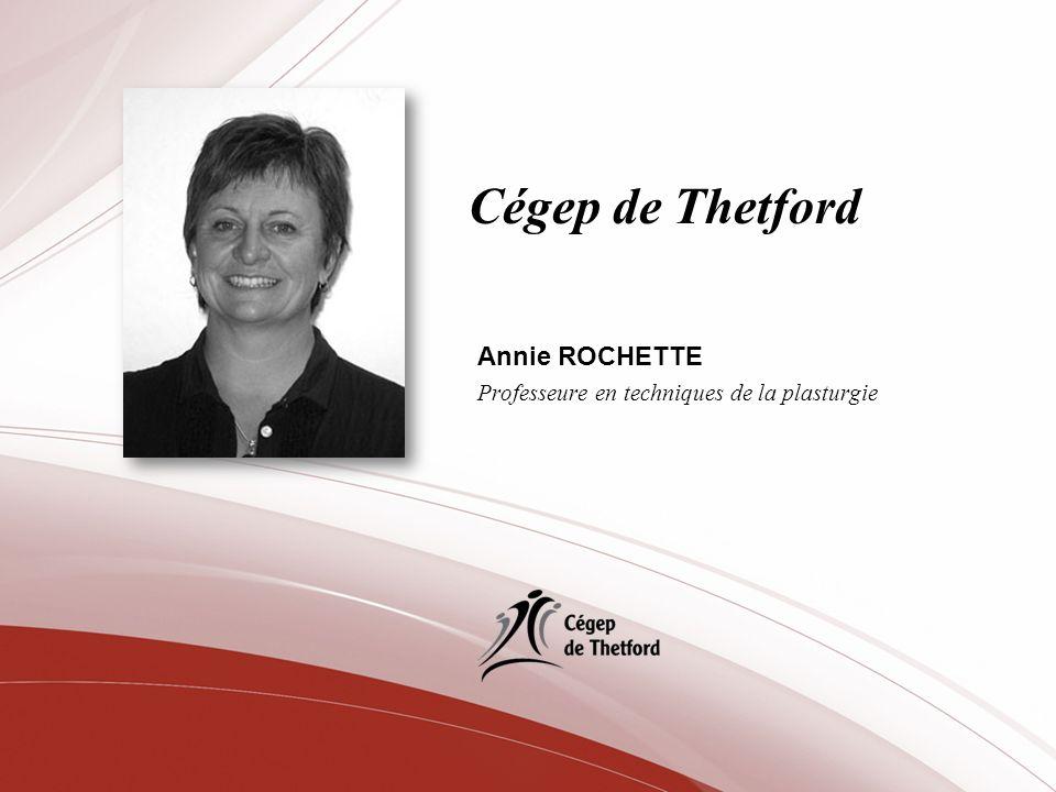 Cégep de Thetford Annie ROCHETTE Professeure en techniques de la plasturgie