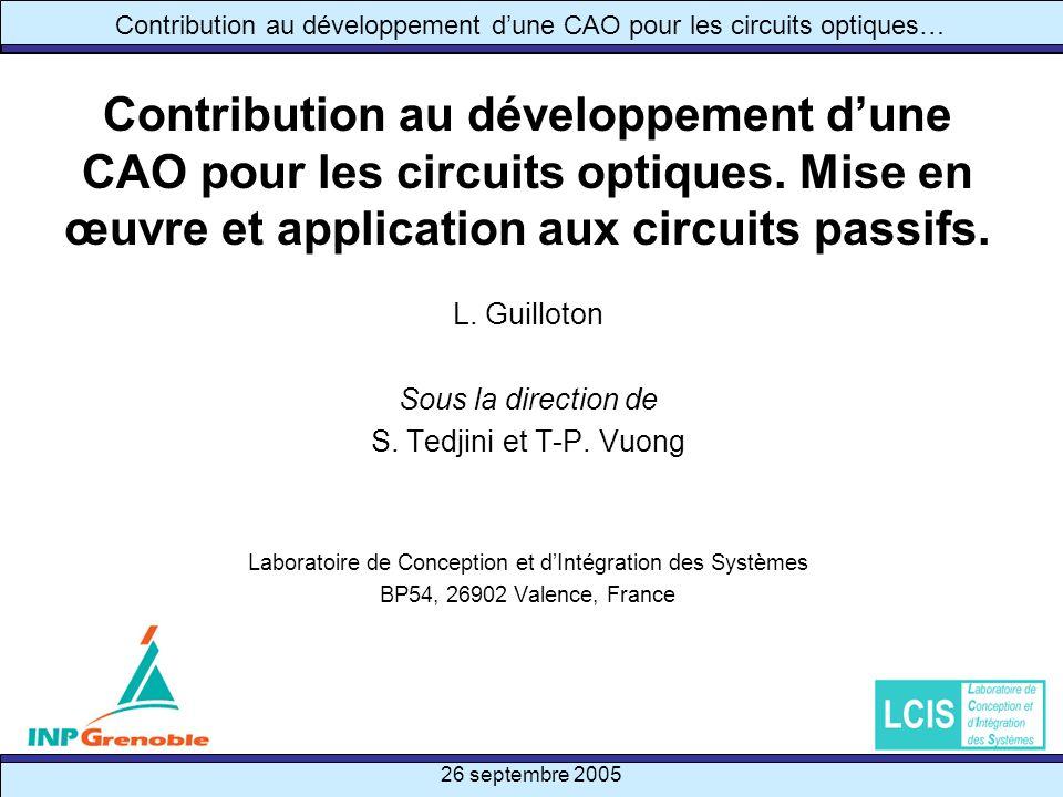 26 septembre 2005 32/47 Contribution au développement dune CAO pour les circuits optiques… Intégration des modèles sous un outil de CAO – Interface de loutil Interface de loutil CAO développé Introduction Simu optique Théorie circuit Modélis° et … Simulation Conclusion Démo