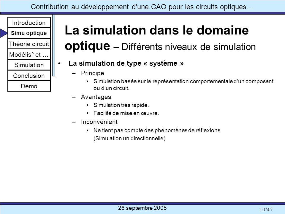 26 septembre 2005 10/47 Contribution au développement dune CAO pour les circuits optiques… La simulation dans le domaine optique – Différents niveaux