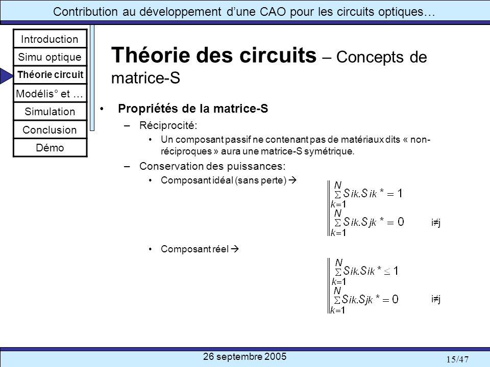 26 septembre 2005 15/47 Contribution au développement dune CAO pour les circuits optiques… Théorie des circuits – Concepts de matrice-S Propriétés de