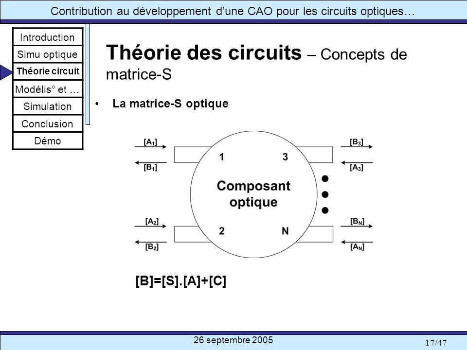 26 septembre 2005 17/47 Contribution au développement dune CAO pour les circuits optiques… Théorie des circuits – Concepts de matrice-S La matrice-S o