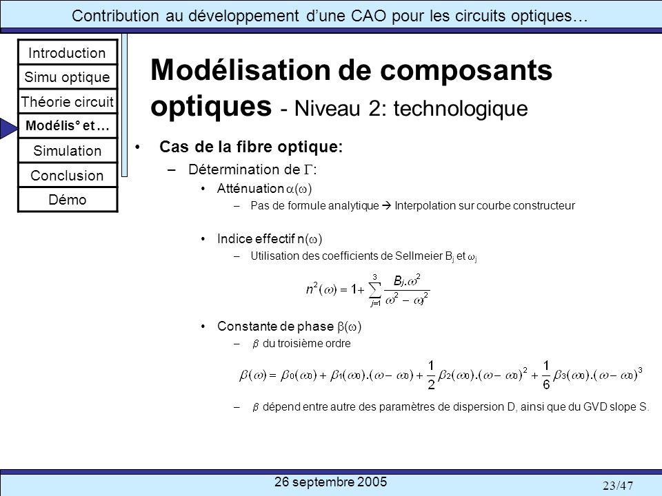 26 septembre 2005 23/47 Contribution au développement dune CAO pour les circuits optiques… Modélisation de composants optiques - Niveau 2: technologiq