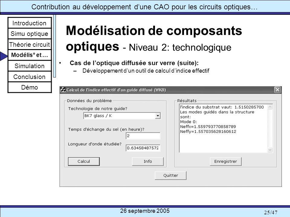 26 septembre 2005 25/47 Contribution au développement dune CAO pour les circuits optiques… Modélisation de composants optiques - Niveau 2: technologiq