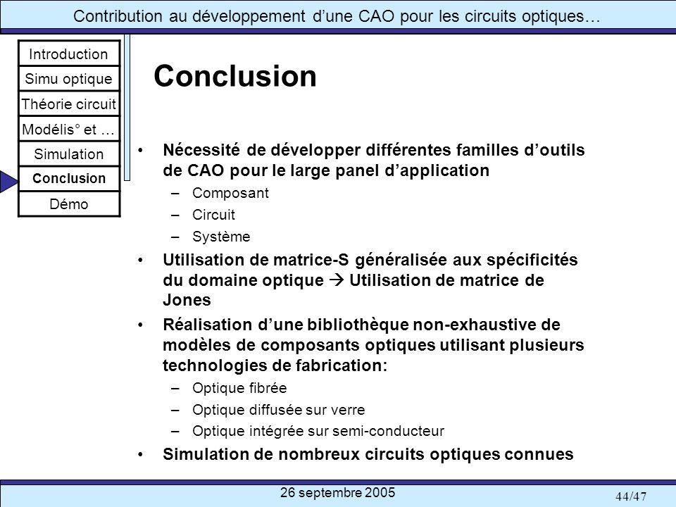 26 septembre 2005 44/47 Contribution au développement dune CAO pour les circuits optiques… Conclusion Nécessité de développer différentes familles dou