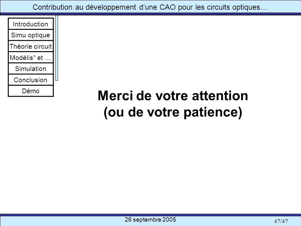 26 septembre 2005 47/47 Contribution au développement dune CAO pour les circuits optiques… Merci de votre attention (ou de votre patience) Introductio
