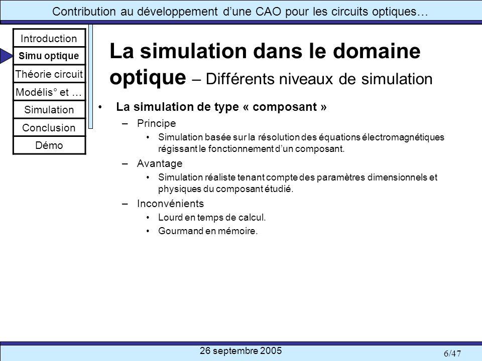26 septembre 2005 17/47 Contribution au développement dune CAO pour les circuits optiques… Théorie des circuits – Concepts de matrice-S La matrice-S optique [B]=[S].[A]+[C] Introduction Simu optique Théorie circuit Modélis° et … Simulation Conclusion Démo