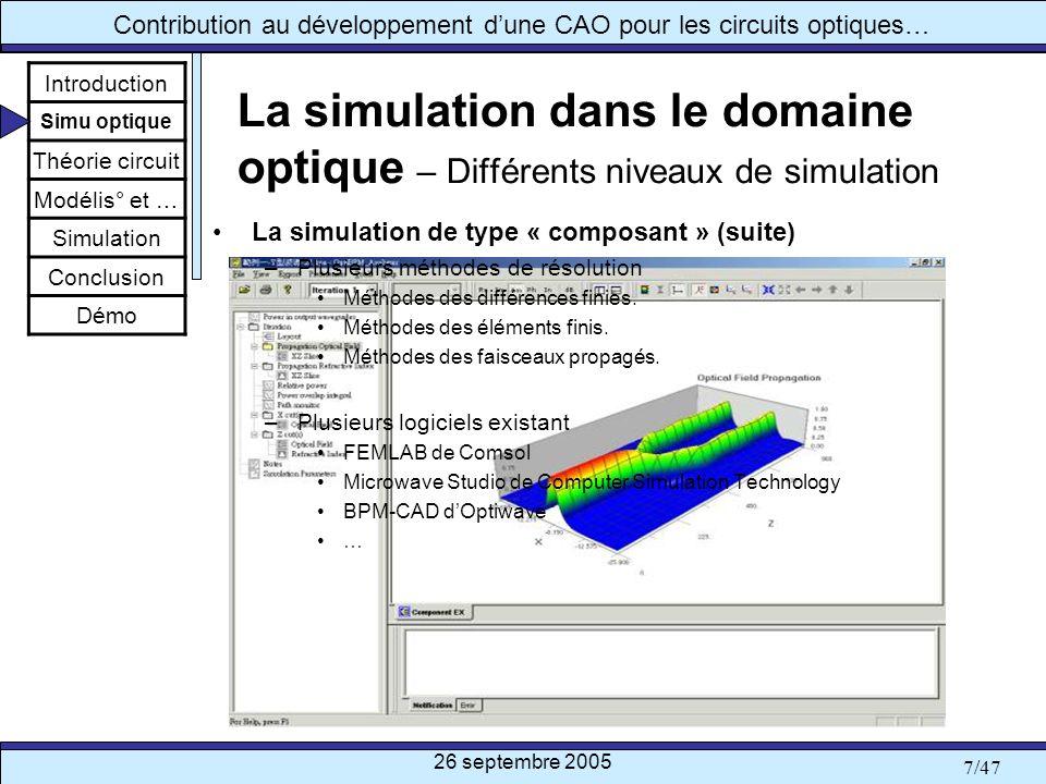 26 septembre 2005 8/47 Contribution au développement dune CAO pour les circuits optiques… La simulation dans le domaine optique – Différents niveaux de simulation La simulation de type « circuit » –Principe Simulation basée sur la représentation électrique dun composant ou dun circuit.