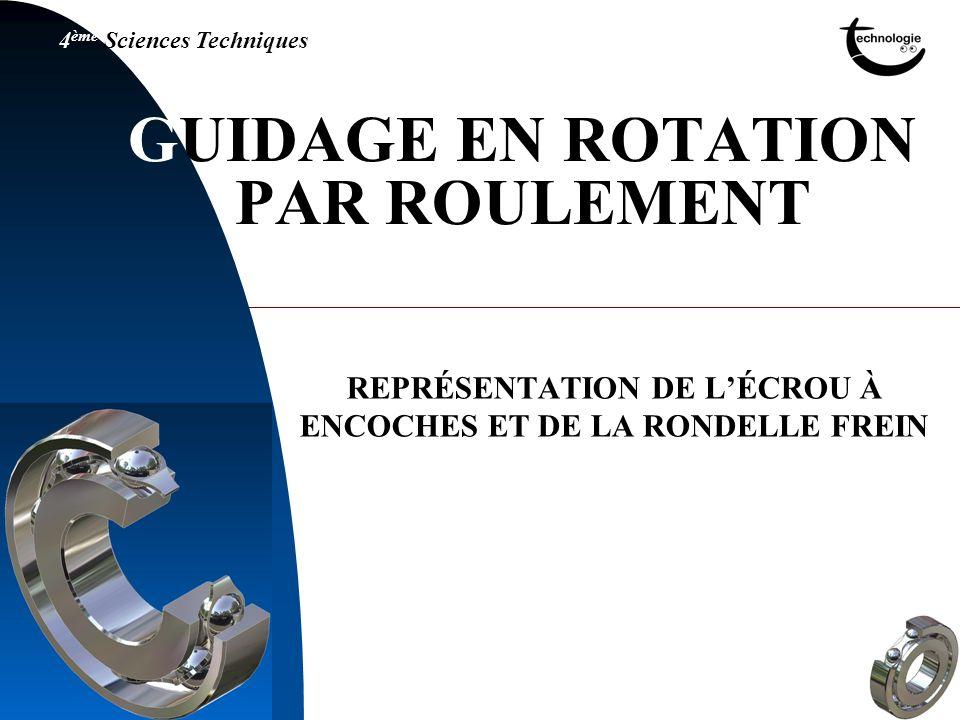 GUIDAGE EN ROTATION PAR ROULEMENT REPRÉSENTATION DE LÉCROU À ENCOCHES ET DE LA RONDELLE FREIN
