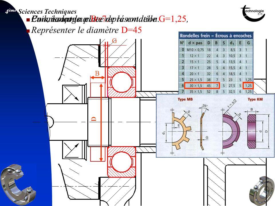 4 ème Sciences Techniques G En laissant la place de la rondelle G=1,25, Représenter le diamètre D=45 B D Commençons cette représentation. Puis, la lar