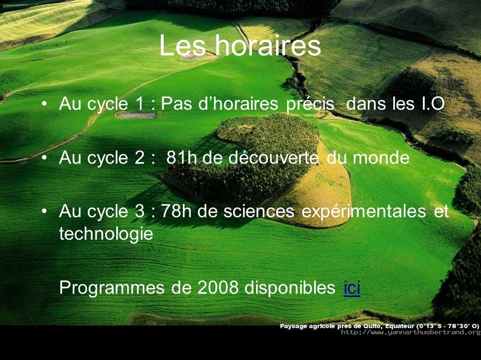 Les horaires Au cycle 1 : Pas dhoraires précis dans les I.O Au cycle 2 : 81h de découverte du monde Au cycle 3 : 78h de sciences expérimentales et tec