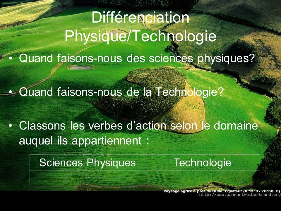 Différenciation Physique/Technologie Quand faisons-nous des sciences physiques? Quand faisons-nous de la Technologie? Classons les verbes daction selo