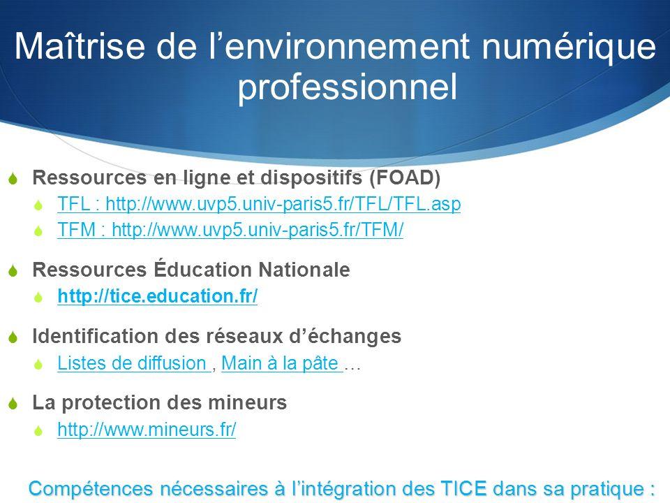 Maîtrise de lenvironnement numérique professionnel Ressources en ligne et dispositifs (FOAD) TFL : http://www.uvp5.univ-paris5.fr/TFL/TFL.asp TFM : http://www.uvp5.univ-paris5.fr/TFM/ Ressources Éducation Nationale http://tice.education.fr/ Identification des réseaux déchanges Listes de diffusion, Main à la pâte … Listes de diffusion Main à la pâte La protection des mineurs http://www.mineurs.fr/ Compétences nécessaires à lintégration des TICE dans sa pratique : le B2i