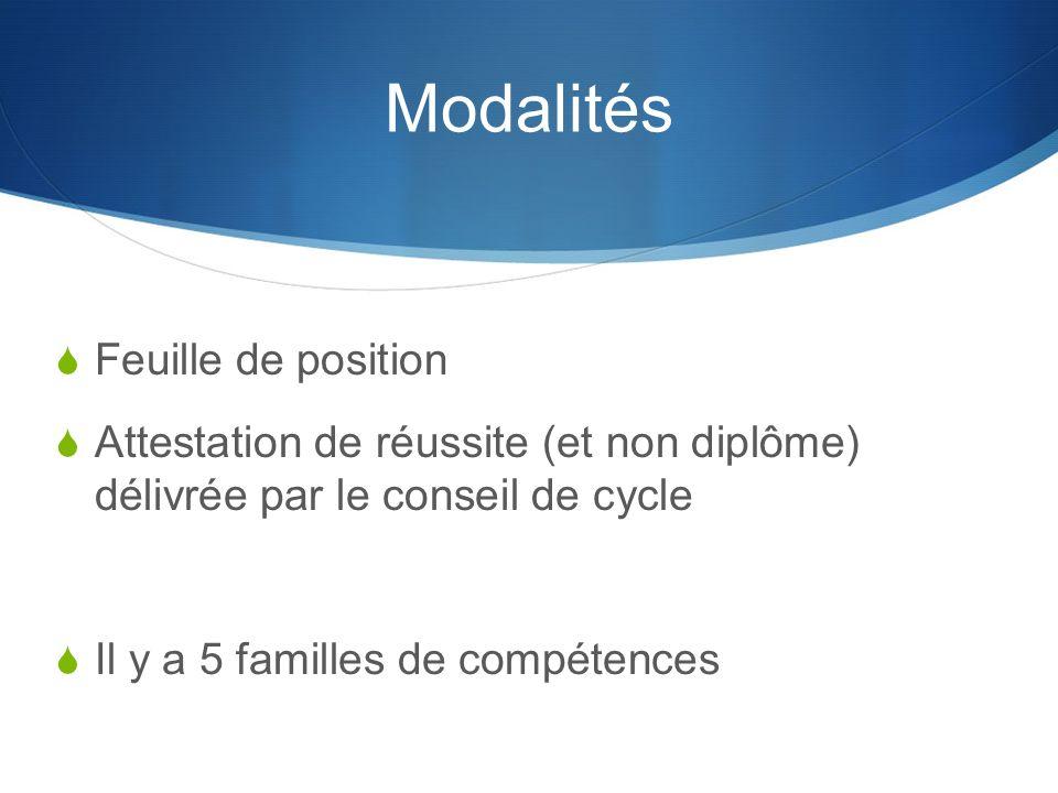 Modalités Feuille de position Attestation de réussite (et non diplôme) délivrée par le conseil de cycle Il y a 5 familles de compétences