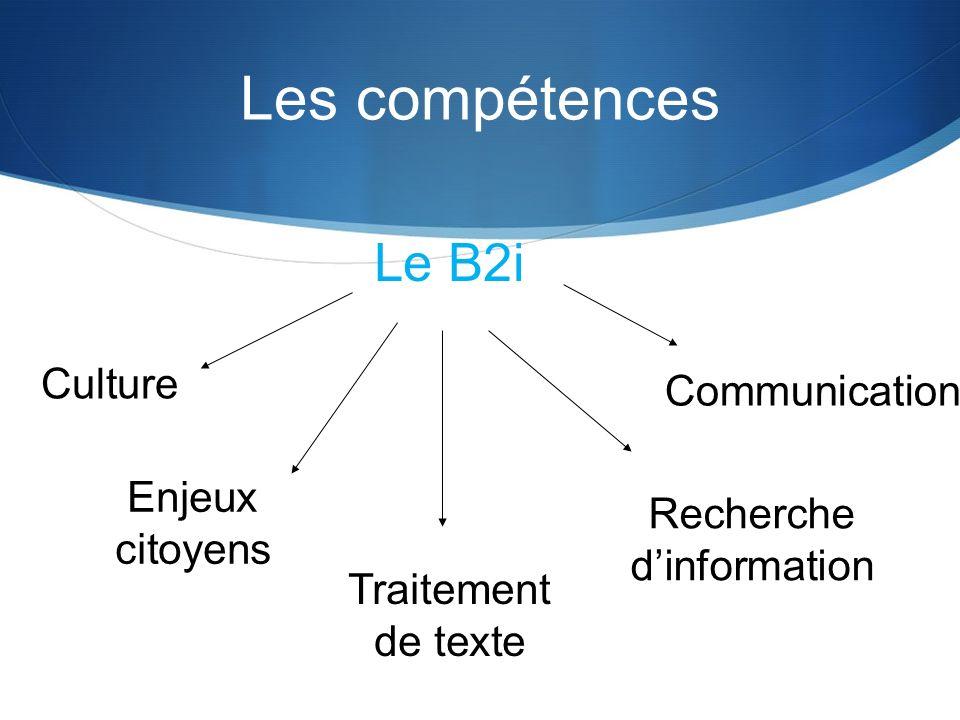 Les compétences Le B2i Culture Enjeux citoyens Traitement de texte Recherche dinformation Communication