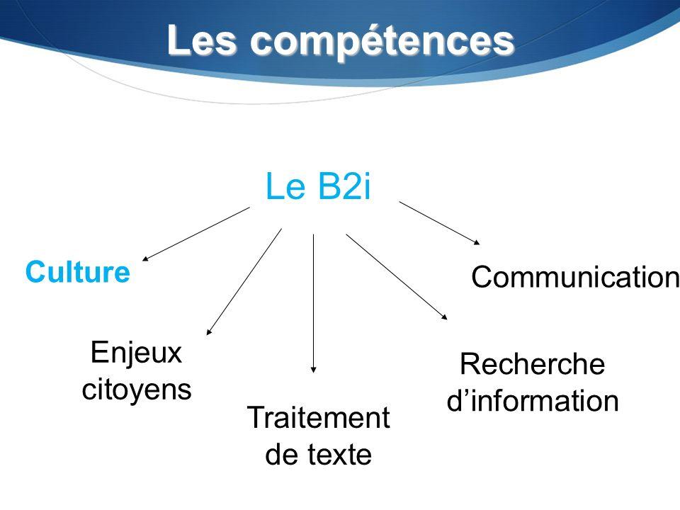 Les compétences Enjeux citoyens Traitement de texte Recherche dinformation Communication Le B2i Culture