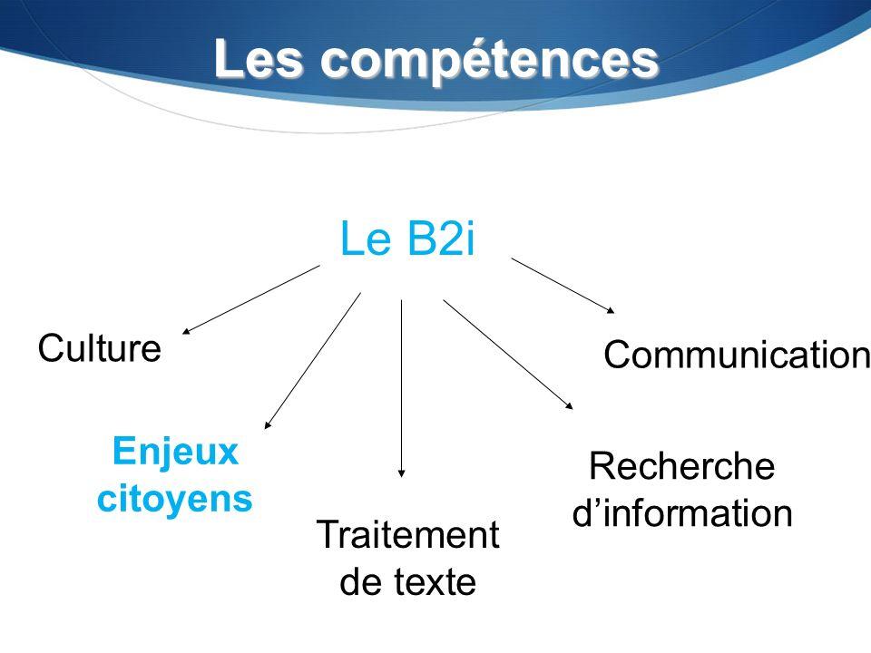 Les compétences Culture Traitement de texte Recherche dinformation Communication Le B2i Enjeux citoyens