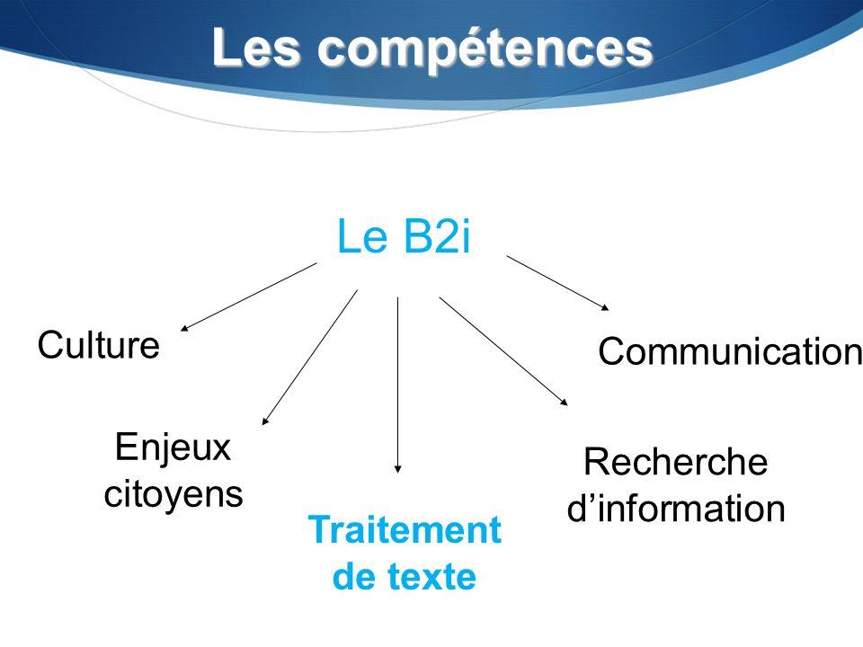 Les compétences Culture Enjeux citoyens Traitement de texte Recherche dinformation Communication Le B2i
