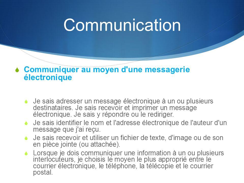 Communication Communiquer au moyen d une messagerie électronique Je sais adresser un message électronique à un ou plusieurs destinataires.