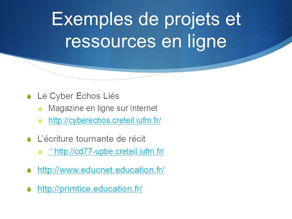 Exemples de projets et ressources en ligne Le Cyber Echos Liés Magazine en ligne sur Internet http://cyberechos.creteil.iufm.fr/ Lécriture tournante de récit http://cd77-upbe.creteil.iufm.fr/ http://www.educnet.education.fr/ http://primtice.education.fr/