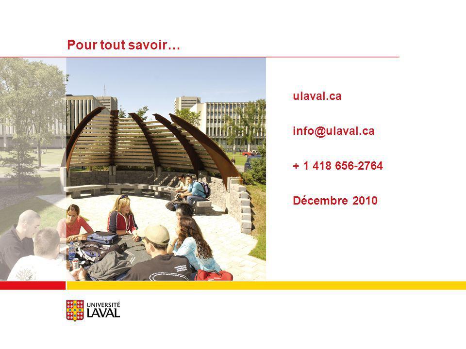 ulaval.ca info@ulaval.ca + 1 418 656-2764 Décembre 2010 Pour tout savoir…