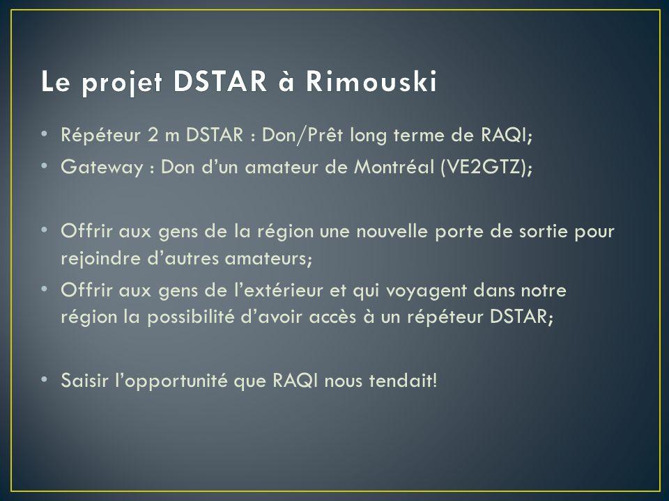Répéteur 2 m DSTAR : Don/Prêt long terme de RAQI; Gateway : Don dun amateur de Montréal (VE2GTZ); Offrir aux gens de la région une nouvelle porte de s