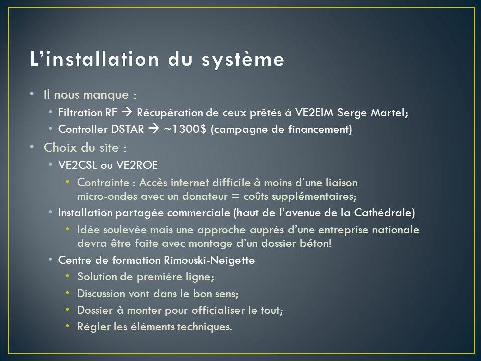 Il nous manque : Filtration RF Récupération de ceux prêtés à VE2EIM Serge Martel; Controller DSTAR ~1300$ (campagne de financement) Choix du site : VE