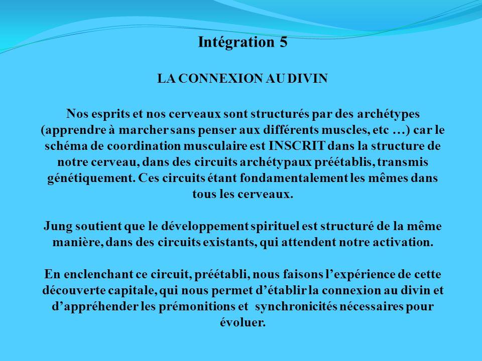 Intégration 5 LA CONNEXION AU DIVIN Nos esprits et nos cerveaux sont structurés par des archétypes (apprendre à marcher sans penser aux différents mus
