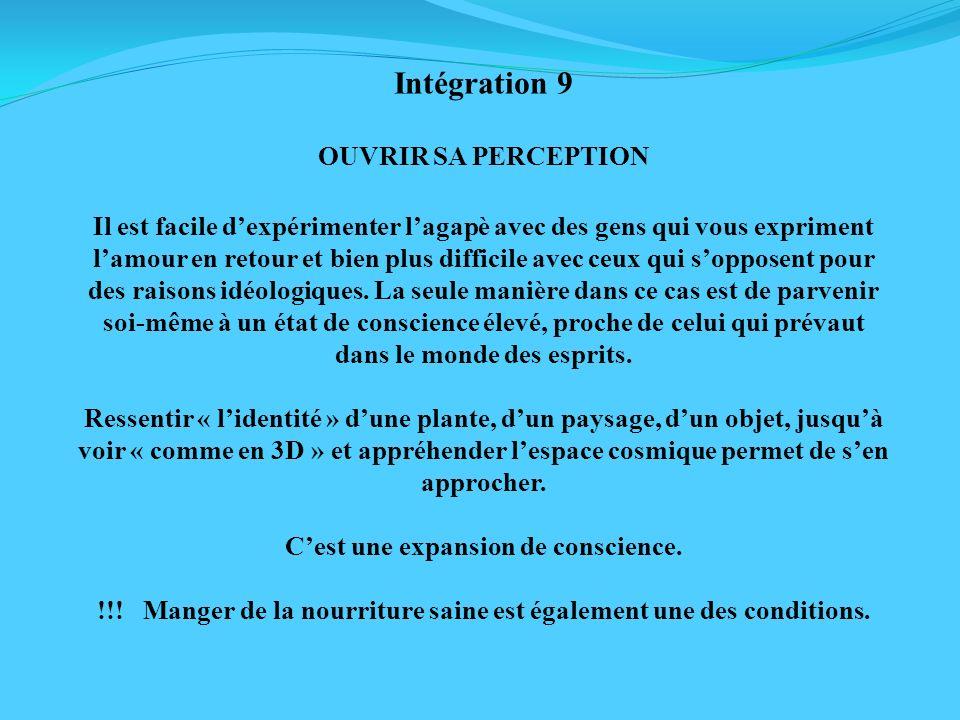Intégration 9 OUVRIR SA PERCEPTION Il est facile dexpérimenter lagapè avec des gens qui vous expriment lamour en retour et bien plus difficile avec ce