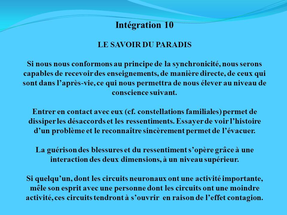 Intégration 10 LE SAVOIR DU PARADIS Si nous nous conformons au principe de la synchronicité, nous serons capables de recevoir des enseignements, de ma