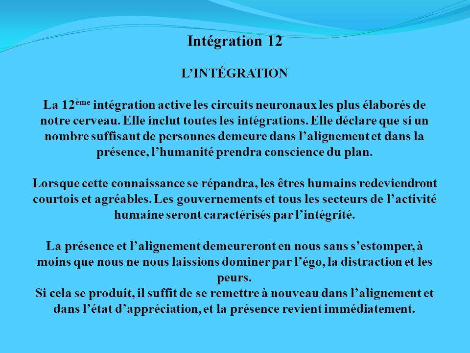 Intégration 12 LINTÉGRATION La 12 ème intégration active les circuits neuronaux les plus élaborés de notre cerveau. Elle inclut toutes les intégration