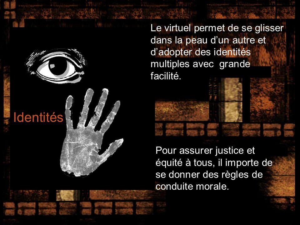 Identités Le virtuel permet de se glisser dans la peau dun autre et dadopter des identités multiples avec grande facilité.