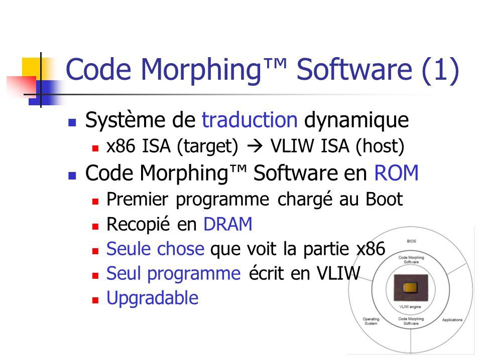 Code Morphing Software (1) Système de traduction dynamique x86 ISA (target) VLIW ISA (host) Code Morphing Software en ROM Premier programme chargé au