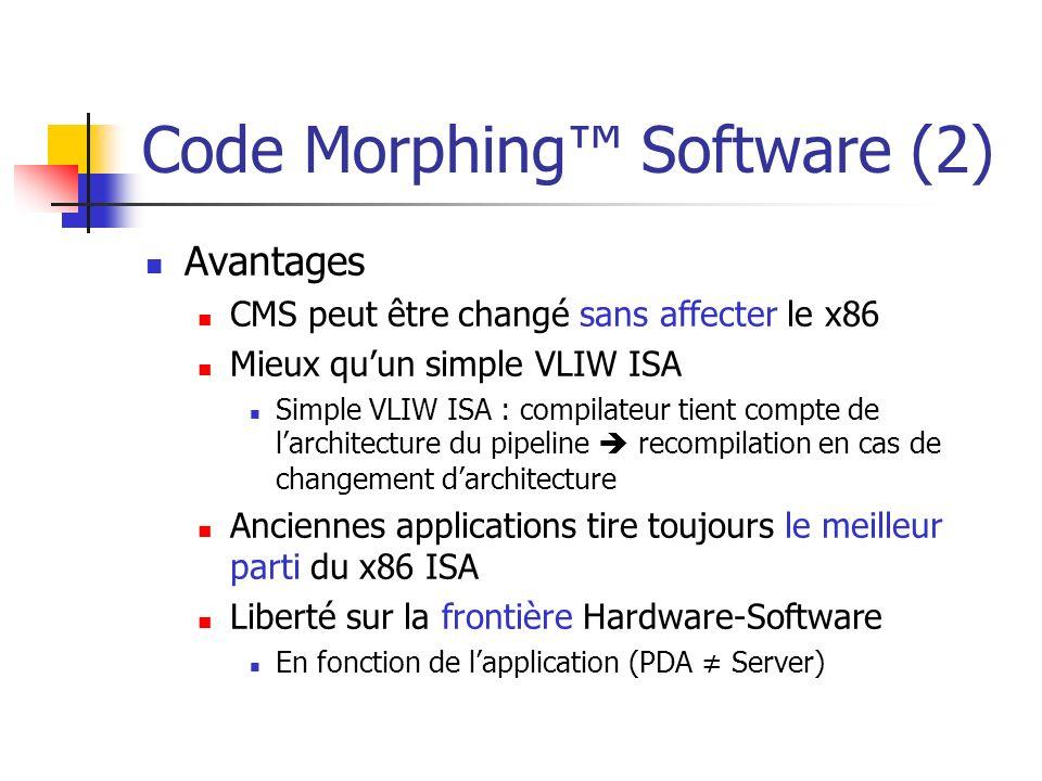 Code Morphing Software (2) Avantages CMS peut être changé sans affecter le x86 Mieux quun simple VLIW ISA Simple VLIW ISA : compilateur tient compte d
