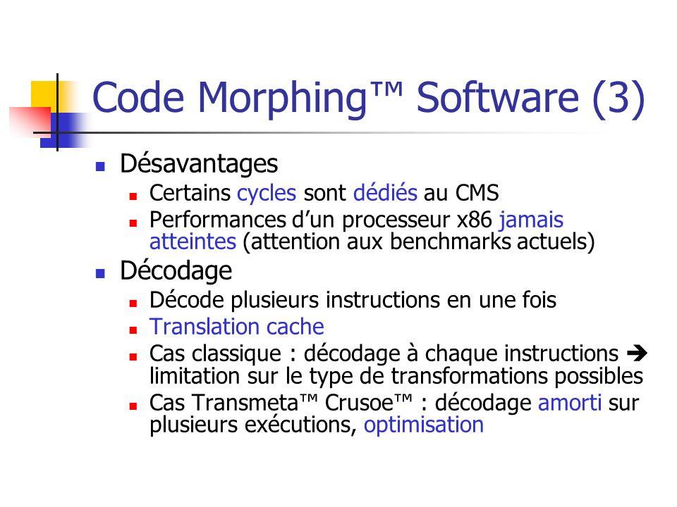 Code Morphing Software (3) Désavantages Certains cycles sont dédiés au CMS Performances dun processeur x86 jamais atteintes (attention aux benchmarks
