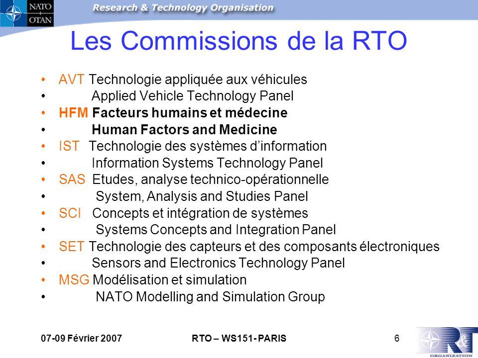 07-09 Février 2007RTO – WS151- PARIS7 Commission Facteurs Humains et Médecine