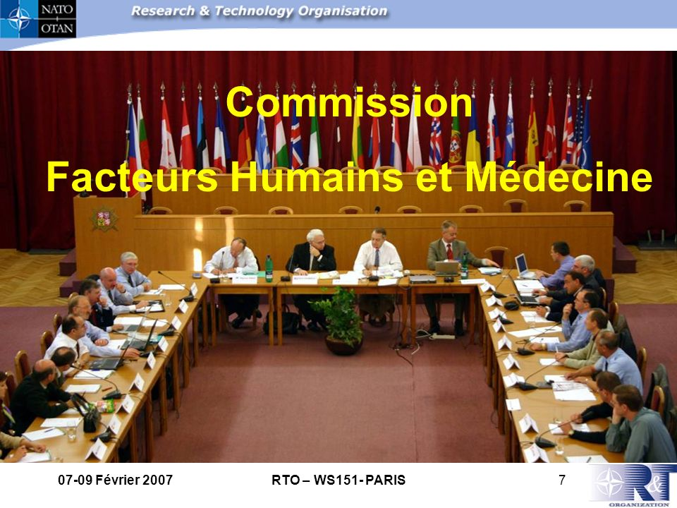 07-09 Février 2007RTO – WS151- PARIS8 The mission of HFM Panel is to optimise safety, health, well being and performance of the human in operational environment.
