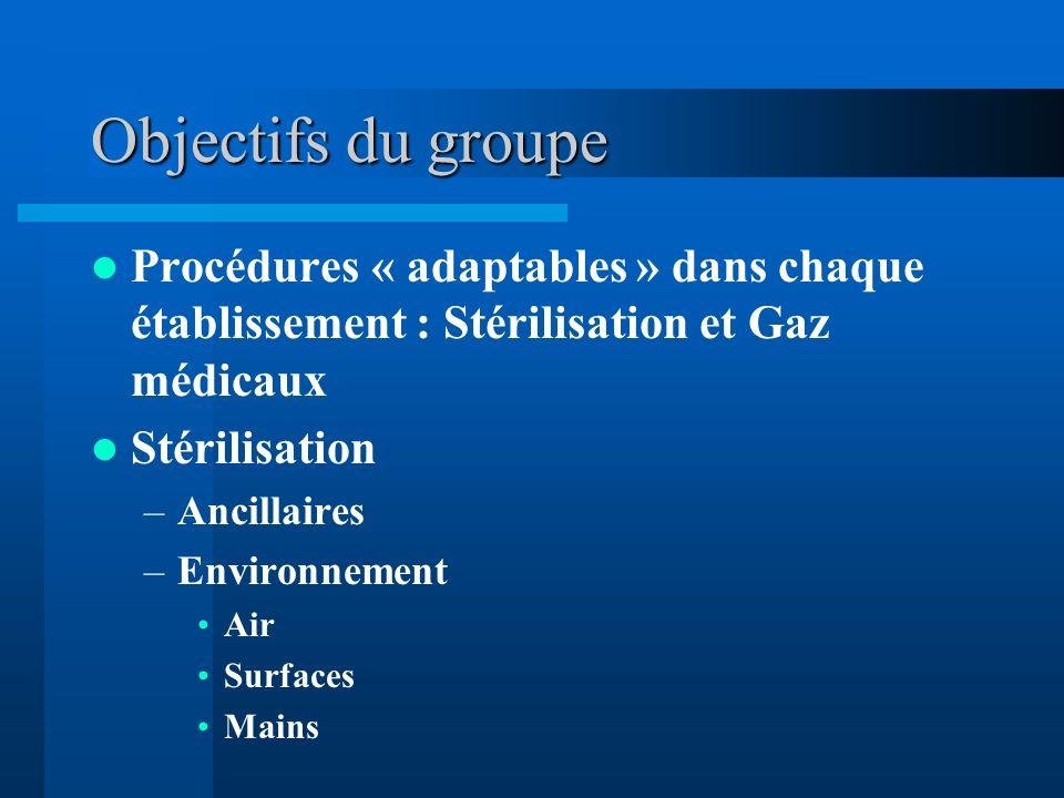 Objectifs du groupe Procédures « adaptables » dans chaque établissement : Stérilisation et Gaz médicaux Stérilisation –Ancillaires –Environnement Air