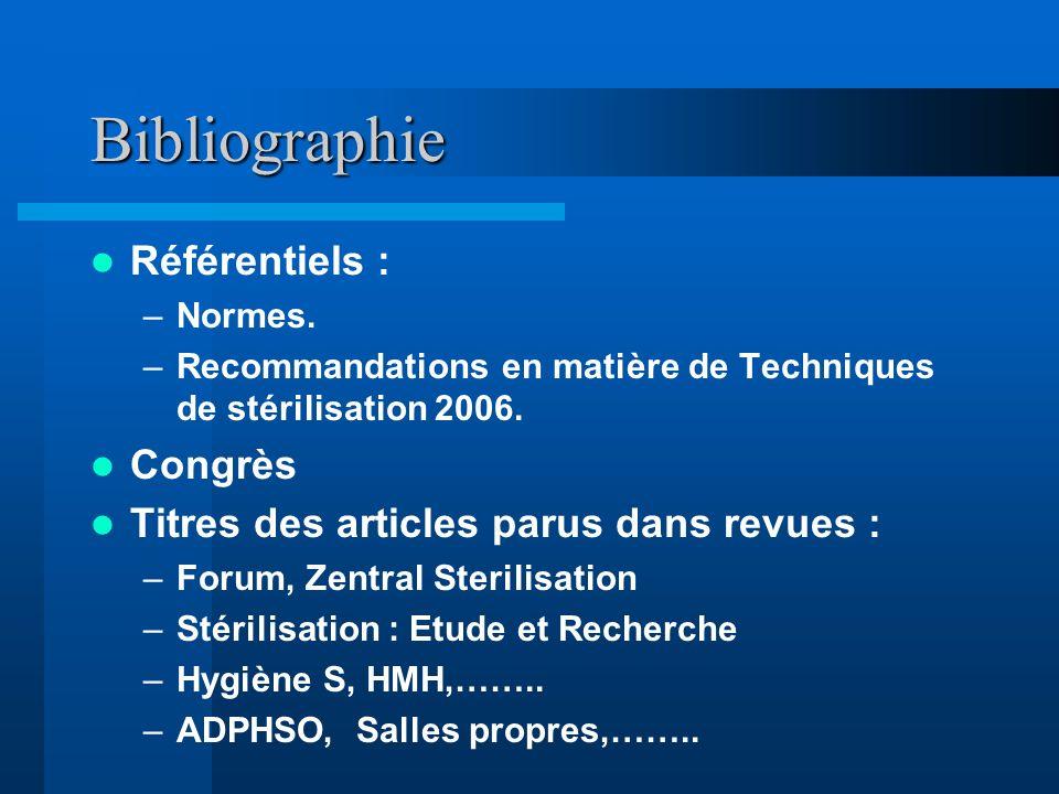 Bibliographie Référentiels : –Normes. –Recommandations en matière de Techniques de stérilisation 2006. Congrès Titres des articles parus dans revues :