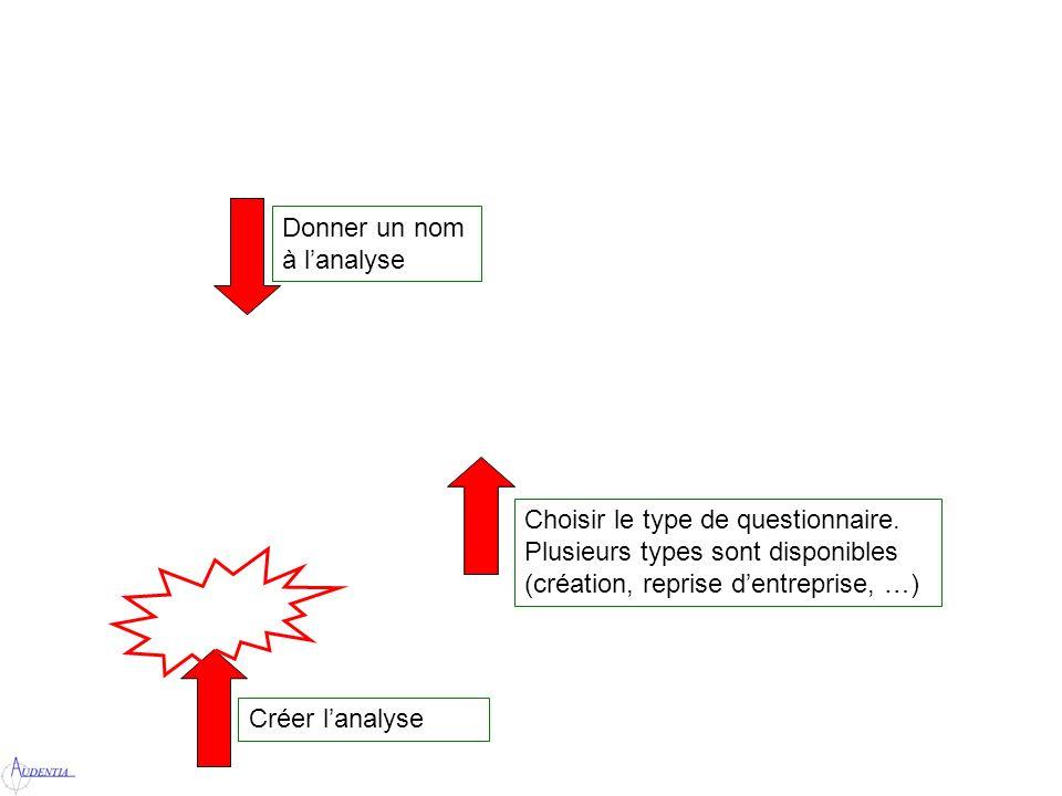 Donner un nom à lanalyse Choisir le type de questionnaire.