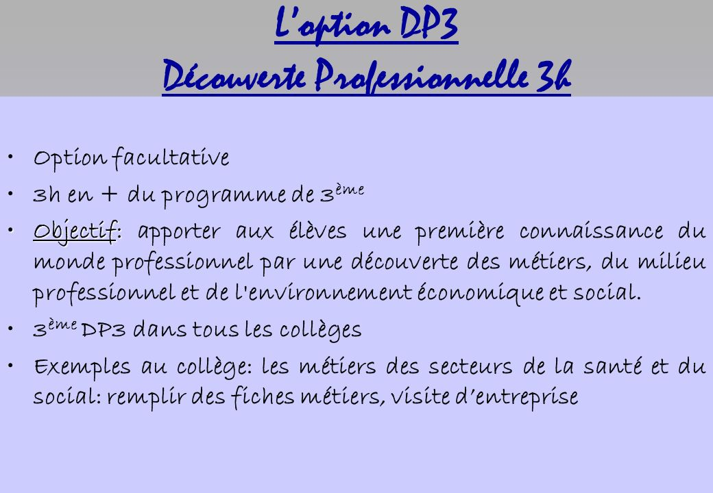 Loption DP3 Découverte Professionnelle 3h Option facultative 3h en + du programme de 3 ème Objectif:Objectif: apporter aux élèves une première connais